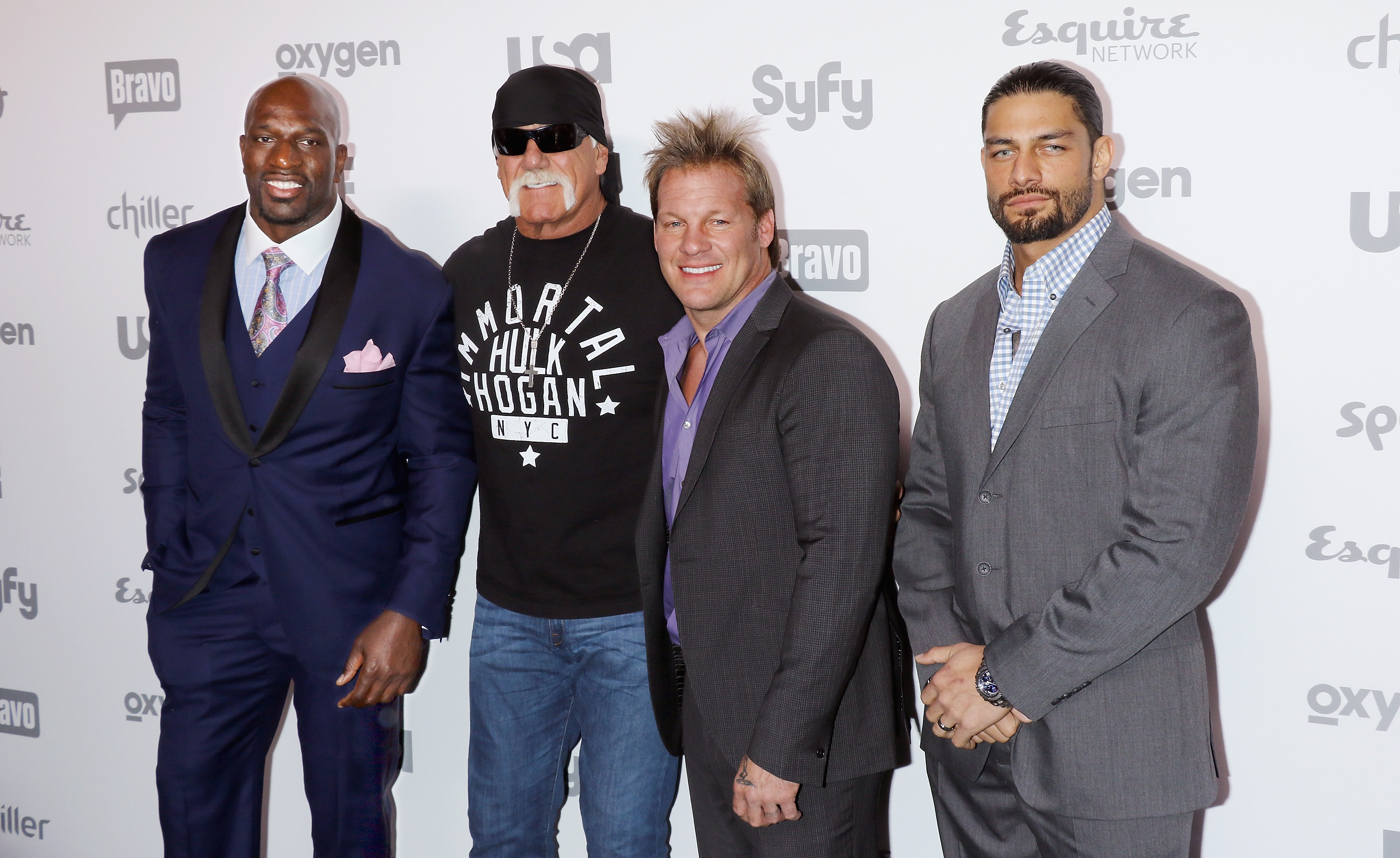 Hulk Hogan, Chris Jericho, Titus O'Neil & Roman Reigns